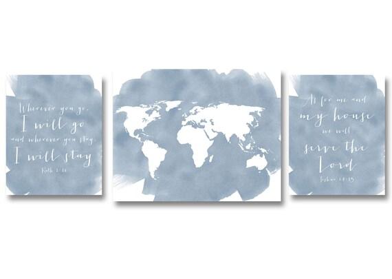 Scripture Art INSTANT DOWNLOAD Printable Watercolor Art Print, World Map Scripture, Home Decor Wall Gallery Print Set of Three 8x10 11x14