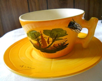 Vintage Vallauris Pottery cup and saucer. Made In Vallauris France by Albert Ferlay circa 1950