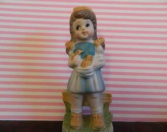 Marquise Collection Girl Holding Baby Birds Figurine