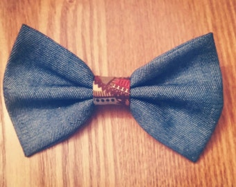 Double Layered Denim Bow Tie (Ties, Unisex, Neckwear, Neck Piece)