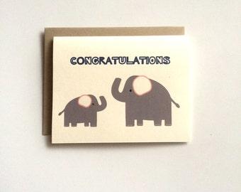 New Baby Card- Elephant Card- Congratulations Card- New Parents Card-Cute Card