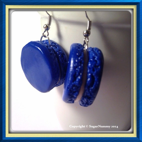 French Macaron Earrings Blue Macarons Purple by SugarNummy ...