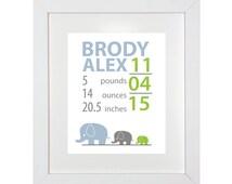 Birth Nursery Print - Birth Announcement - Nursery Print - Elephant Nursery Prints - Wall Prints - Modern Nursery Birth Announcement