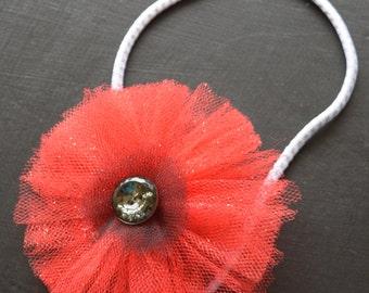 Red Tulle Poppy Elastic Headband
