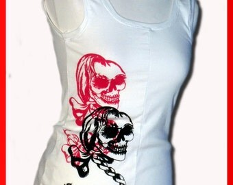 "Tank-top with deep back ""pretty skull"""