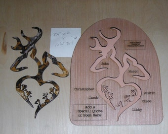 Cake Topper and Wall Plaque #1 Personalized Family Gift Camo Covered Browning Deer up to 5 Babies Engraved with names & Bible Verse or Quote