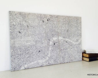 A-Z Historical Canvas Map Central London
