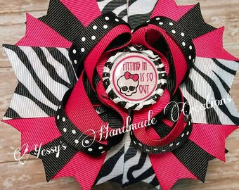 Monster high inspired boutique hair bow!!
