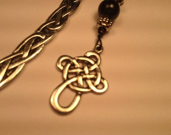 "Silver Celtic Beaded Cross Charm Bookmark (4.5"")"