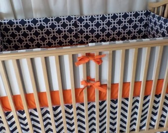 Classic Crib Set.  Bumpers, Sheet, Skirt. Stripes, Chain link, Chevron in Orange, Navy and Gray.