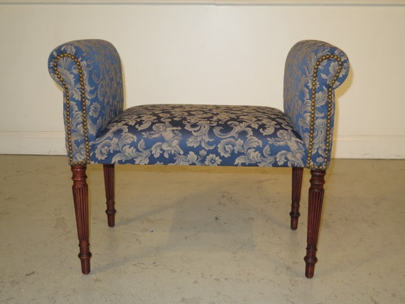 37498e Sheraton Blue Damask Upholstered Vanity Bench