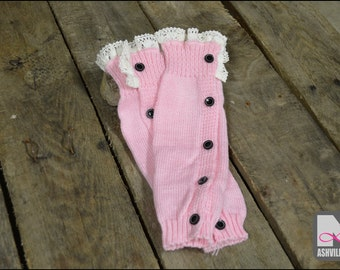 Little Girl Leg Warmers, Knit, Lace, Buttons ~ Pink (CLWB-Pink)