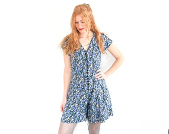 90's DITSY FLORAL Print Black + Blue Lace-Up Flare Mini Romper Dress || Vintage || Medium