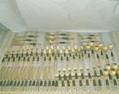 Vintage 84 Piece S. Samran Thailand Buddha Bronze & Wood Service For 14 Flatware Set EUC ( 1 Cent Shipping )