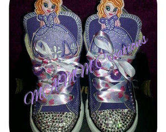 Sofia the First shoes, bling converse, kids converse, bling converse, sofia the first birthday, birthday shoes, custom converse