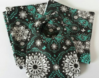 Turquoise and Gray Receiving blanket set