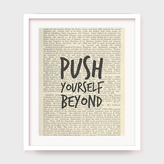 Fitness Motivation Print, Push Yourself Beyond, Printable Motivational Quote Decor, Instant Download