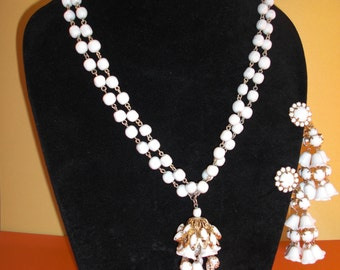 Collar (72) and earrings, bells of lily of the Valley, to 1950