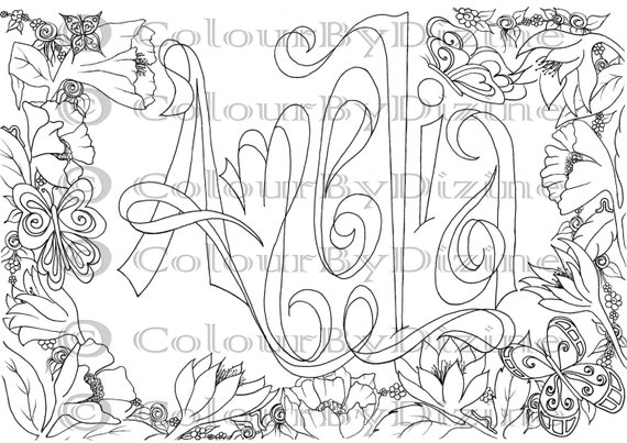 coloring page girl u0026 39 s name  u0026 39 amelia u0026 39  in flower by theshabbysunflower