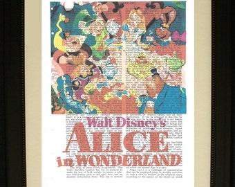"Alice In Wonderland Movie Poster Print- Printed on Vintage Encyclopedia Paper- Approx. 8"" x 10"""