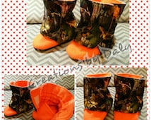 Hunting BABY BOOTS, Orange Camo Baby Boots, Camo Baby Booties, True Timber Baby Boots, Camo Baby Boy Boots, Sizes: 0-3, 3-6, 6-12 months