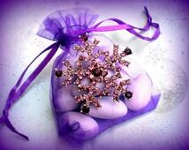 50% SALE Purple Snowflake Pin..Snowflake Brooch..Christmas Pin..Frozen Jewelry..Anna Costume..Frozen Party Favor..Winter Wedding Favor