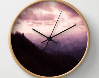 Decorative Wall Clock Purple Mountain Landscape