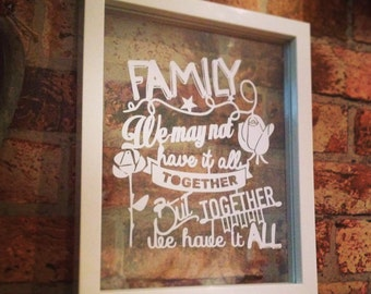 Handmade Personalised Family Quote Paper Cut in a Floating Frame