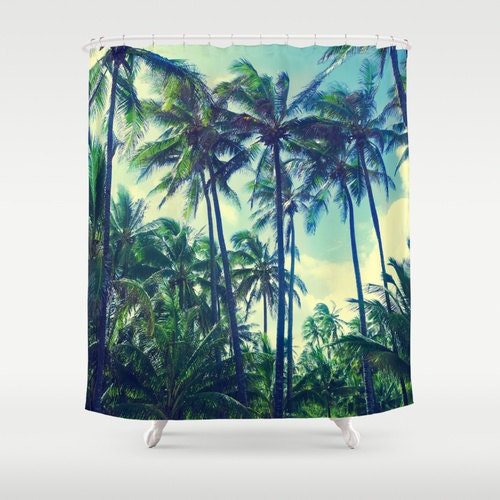 Tropical Palms Shower Curtain Vintage Palm Trees Green