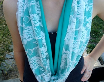 Lace Jersey Short Infinity Scarf
