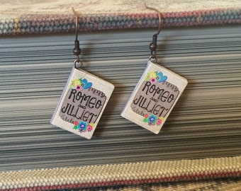 Book Charm Earrings, Romeo and Juliet, Classic Literature