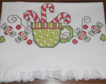 Christmas Pillowcases (Cup Filled with Candy Canes Surrounded with Candies) Festive!!
