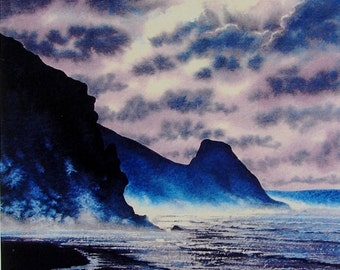 Newgale Moon. Signed and numbered prints of Beaches, Seascapes, Newgale beach, coastal, moonlight, Pembrokeshire Originals and Prints.