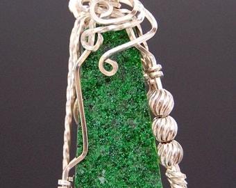 Wire Wrapped Pendant - Tsavorite Druzy in Argentium Sterling Silver  Wire Pendant