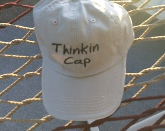 Thinkin Cap - Khaki with Black Lettering