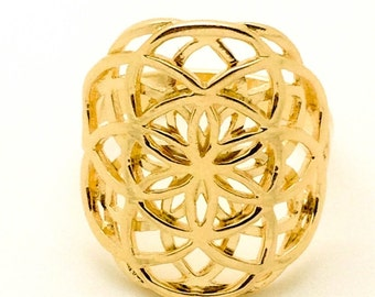 Double Flower of life Ring - Gold plated 14K - Seed of life sacred geometry