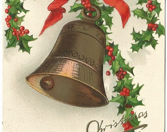 """Antique Christmas Postcard, ca. 1908, Ellen Clapsaddle Embossed Illustration, """"A Merry Christmas"""", Printed In Germany"""