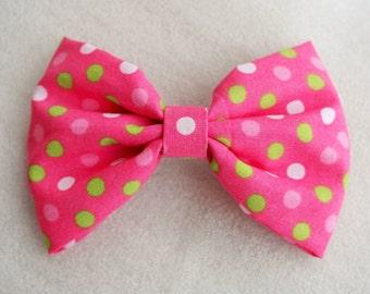 Polka Dot Pink Hair Bow Clip