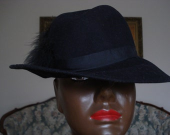 """VINTAGE  """"BOLLMAN"""" Americana Hat.  Made in USA Hat.  Black Wool Everyday hat, or Evening Hat.  Fedora Style Hat."""
