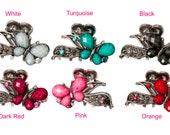 Vintage Charm Crystal Hair Claw Clip Jaw Clip For Women White, Turquoise, Black, Dark Red, Pink Or Orange