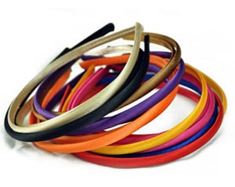 3 Pieces Satin Covered Plastic Headband - Choose Your Color - Hair Accessory Supplies - DIY - Create Your Own Accessories