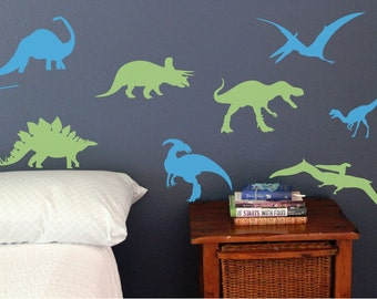 Set of 8 Dinosaurs, Fun dino wall decals