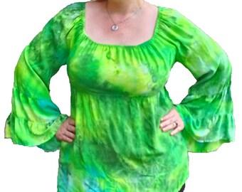Leafmold Malachite Peasant Shirt w/ Tiered Sleeves 100% Rayon