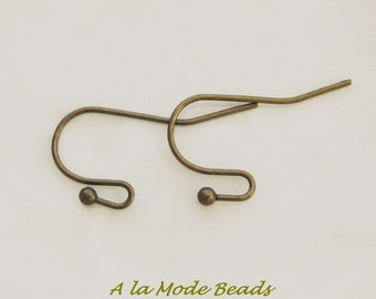 Antique Bronze Ear Hooks Ear Wires with Ball 22MM (20) #617