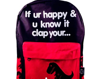 Sad T-Rex Backpack (BKP-GT2339). dinosaurs, dino, sad t-rex, t-rex, happy and you know it clap your oh, school backpack, geeky gifts