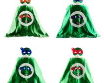 Kids Boys Girls Superhero Cape / Mask Set  - Teenage Mutant Ninja Turtles