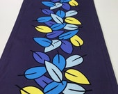 Modern Contemporary Original Dining Kitchen Table Runner Cloth Mat Eucalyptus Leaf design in Blue & Yellow