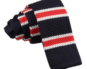 Men's Knitted Navy, White with Red Thin Stripe Tie