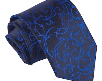 Swirl Black & Blue Tie