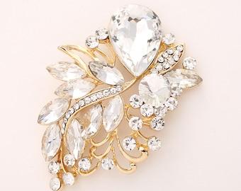 Rhinestone Gold Brooch, Gold Bridal Sash Brooch, Crystal Gold Broaches, Gold Bridesmaid Brooch, Gold Glam Wedding Brooches